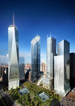 Phối cảnh công trình tháp Tự do và cụm 3 tháp mới trên nền WTC tại New York. Ảnh: