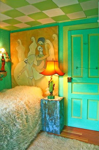Phòng ngủ trông như một tác phẩm nghệ thuật.