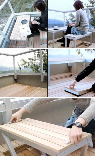 Kiểu bàn ghế giấu vào sàn nhà cũng là giải pháp thú vị.
