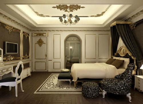 phòng khách phong cách cổ điển, bộ sa lông cầu kì, trang trí tường nhiều gây nhiều lảng phí.