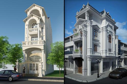 phong cách nhà phố cổ điển rườm rà.