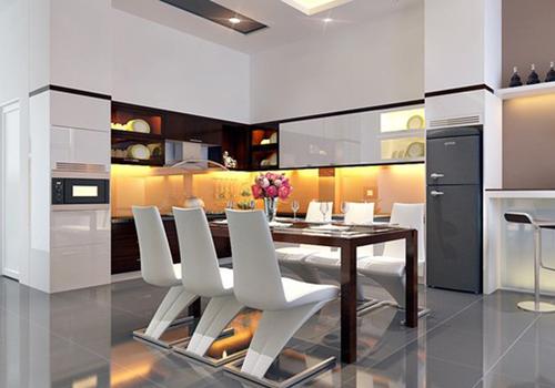 Ánh sáng trắng phù hợp cho phòng ăn mang phong cách hiện đại.