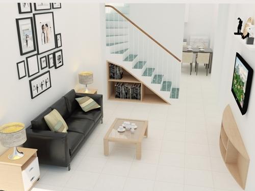 Đối phòng khách có chu vi như hạn chế, cần chọn gạch màu sáng, vừa sạch sẽ vừa sang trọng.