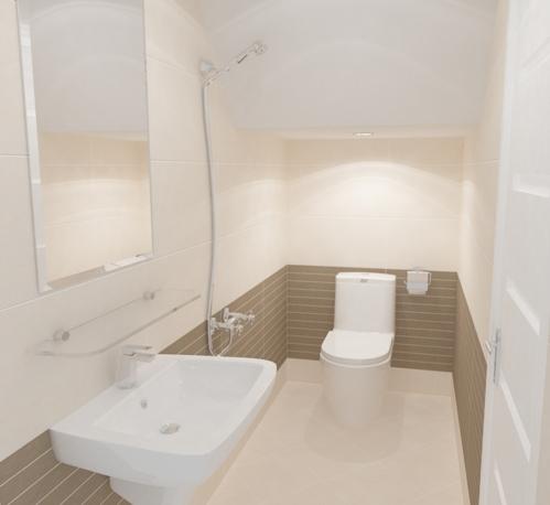 Nhà vệ sinh cũng cần ốp lại theo tống máu sáng cho sạch sẽ,  những điểm nhấn trong wc dùng gạch vân gỗ, cho cảm giác ấm áp, và ăn tông với sàng gỗ và những vật dụng gỗ trong nhà. Toiletở tầng một.