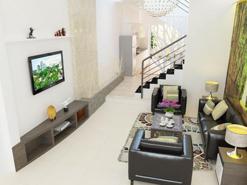 phòng khách trệ, với tranh gián tường làm cho không gian thêm thoán đãng.