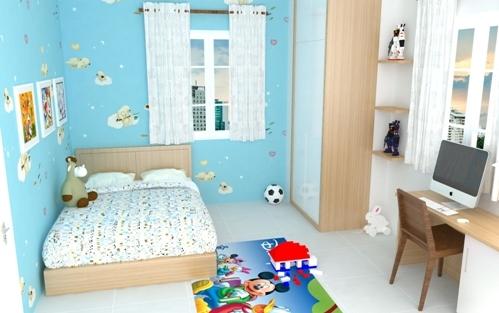 Phòng ngủ con trai đầu cá tính với lứa tuổi thiếu nhi với hoạ tiết như truyện cổ tích.
