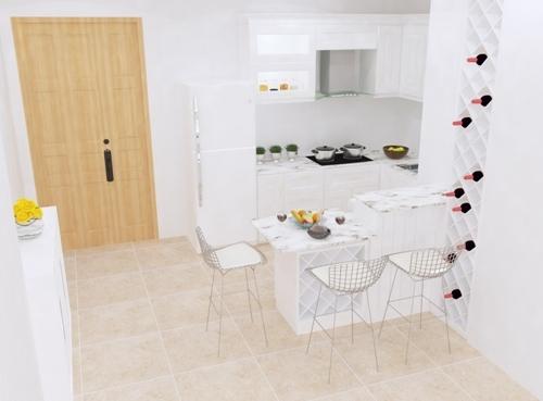 Với tông màu trắng sáng làm chủ đạo gian bếp+ quày bar trở nên sang trọng và sạch sẻ.