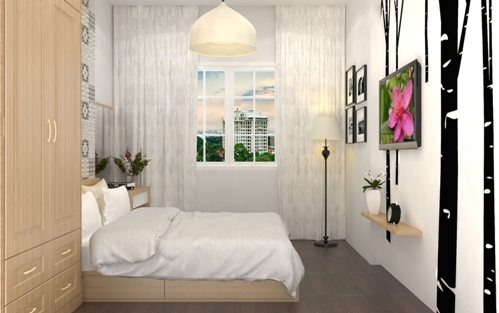 Phòng ngủ con gái lãng mạng với tông màu tím nhạt với tuổi 18.
