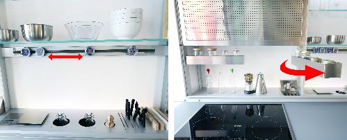 Thiết bị điện và ổ cắm điện giúp cho người nội trợ tiện sử dụng trong khu bếp. Ở đây ổ cắm cố thể được rút ra và di dời qua một vị trí khác trên một ray cắm đã được tích điện rất an toàn.