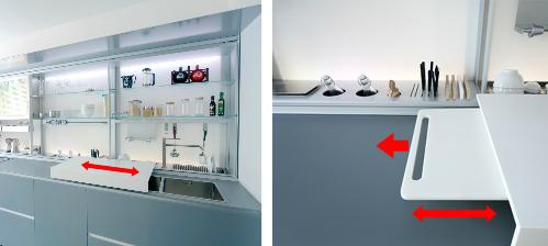 lavobo được thiết kế và gói gém với tiêu chí 3 trong 1 rất tinh xảo và thông minh, bàn chế biến di động được di chuyển trên thanh ray để giúp tăng không gian và diện tích sử dụng của khu bếp. Hai hệ thống nước được tách riêng biệt, nguồn nước sử dụng để nấu ăn được đảm bảo bằng hệ thống lọc nước tinh khiết khác với hệ thống nước bên lavobo để rửa các vật dụng khác.