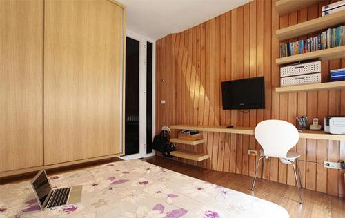 Mảng tường ngăn cách giữa không gian sinh hoạt chung và phòng ngủ