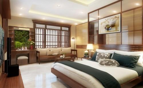 Cửa gỗ làm giảm nhiệt cho không gian phòng ngủ.