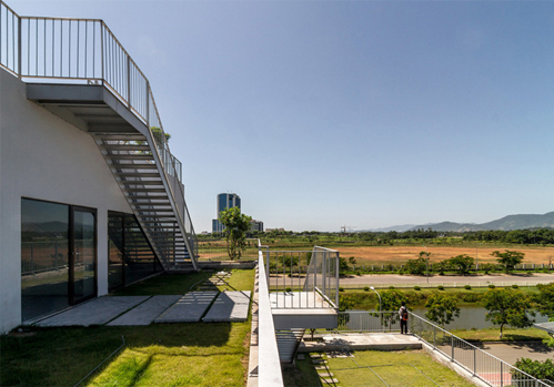 Mái nhà được trồng cỏ làm sân chơi, đi dạo cho sinh viên. Ảnh: Hoàng Lê.