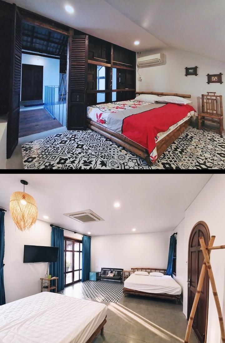 Nhà có tổng cộng bốn phòng ngủ. Mỗi phòng có một chút khác biệt về trang trí song đều rất ít đồ đạc.