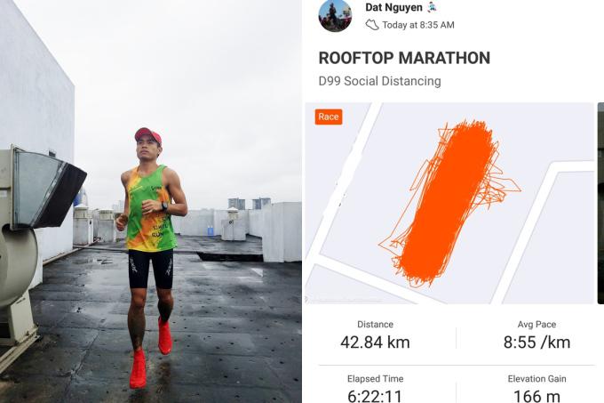 Anh Đạt quay đầu 1.700 lần để hoàn thành đường chạy 42 km trên sân thượng. Ảnh: Nguyễn Đạt.