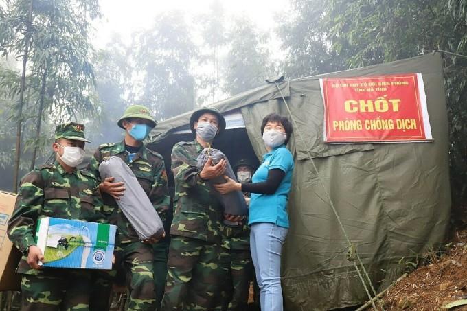 Chốt chống dịch của Bộ đội biên phòng Hà Tĩnh tại biên giới Lào. Ảnh:Đức Hùng