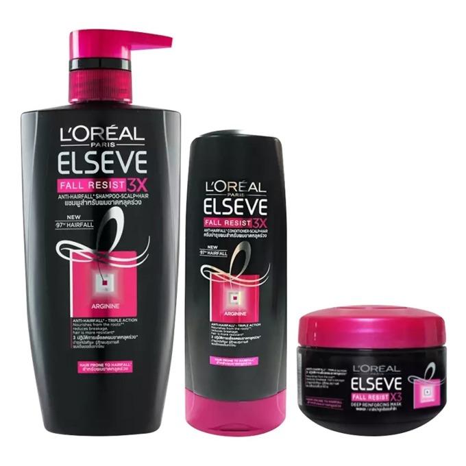Bên cạnh dưỡng da, trang điểm, chị em cũng nên chú ý chăm sóc cho mái tóc thêm bóng mượt, khỏe mạnh. Bộ sản phẩm ngăn gãy rụng tóc Loreal Paris gồm dầu gội, dầu xả và kem ủ tóc, có tác dụng giúp ngăn tóc gãy rụng. Công thức cải tiến được bổ sung arginine và acid amin, dưỡng chất thiết yếu cho quá trình tái tạo và phát triển của tóc, giúp ngăn ngừa gãy rụng với ba tác động: nuôi dưỡng, phục hồi và giúp tóc mọc khỏe mạnh hơn. Bộ sản phẩm có giá 261.000 đồng trên Shop VnExpress.