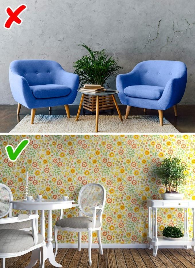 Nên mua giấy dán tường loại tốt, hoặc sơn tường chất lượng. Ảnh: Brightside