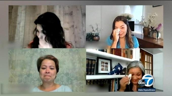 Margaret Trần và các chị gái rơi nước mắt vì xúc động khi nhận ra nhau. Ảnh: ABC7.