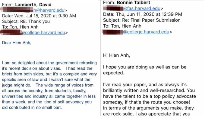 Thầy giáo của Hiền Anh, giáo sư Lamberth khen ngợi cô trò nhỏ góp tiếng nói, dẫn đến quyết định bãi bỏ chính sách hạn chế visa (trái). Giáo sư Bonnie Talbert khen ngợi Hiền Anh trong bài luận cuối khóa (phải).