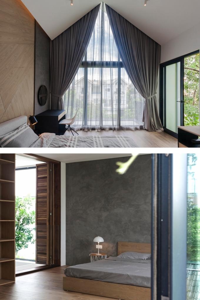 Các phòng ngủ đều mở ra một mảnh vườn. Ảnh: NGHIA Architect.