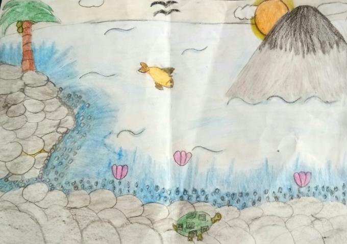 Bé Bảo Hà vẽ cảnh biển thanh bình sau một buổi sáng đi chơi biển.