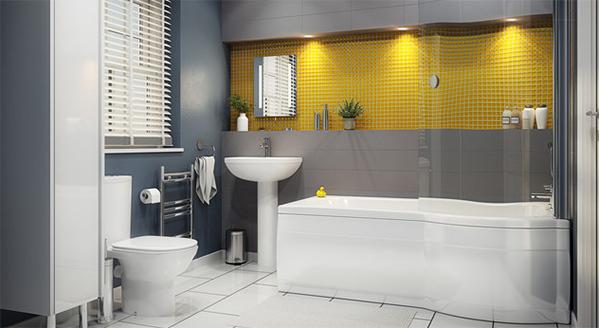 Phòng tắm thiết kế theo phong cách tối giản, một khoảng tưởng màu vàng xen lẫn màu trắng giúp không gian thẩm mỹ. Gia chủ bố trí thêm chậu cây cảnh nhỏ tạo cảm giác không gian sống xanh, thư giãn cho mọi thành viên trong gia đình khi bước vào căn phòng.