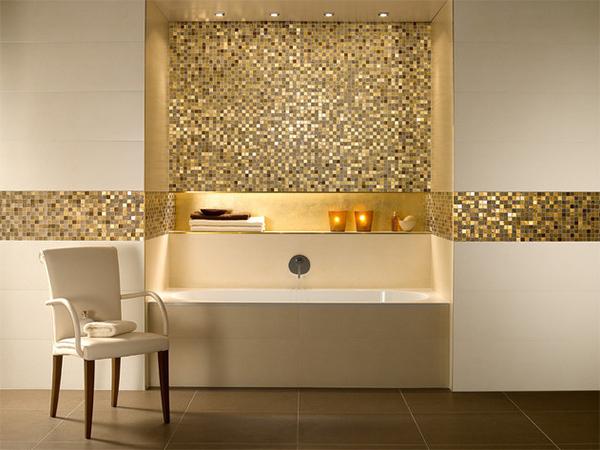 Trong không gian này, gia chủ bố trí màu vàng bằng gạch ốp ở cạnh khu vực đặt bồn tắm. Nhìn từ xa, bức tường óng ánh, sang trọng như những viên kim cương.
