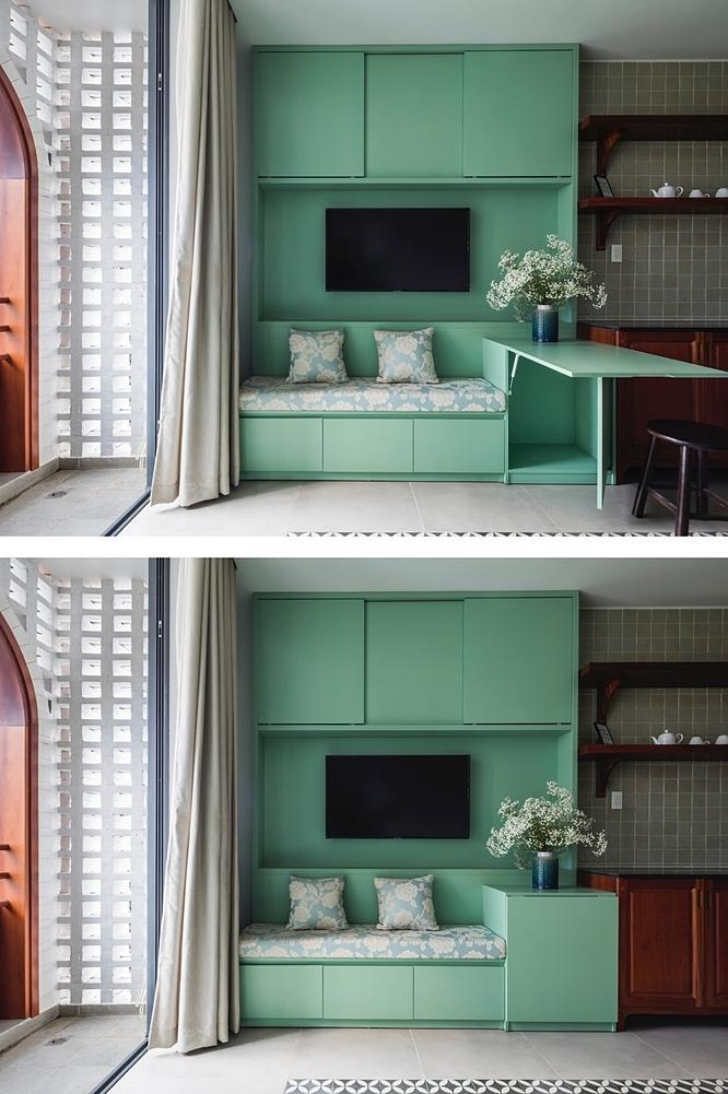 Hệ tủ trong các căn hộ tích hợp nhiều chức năng khác nhau. Ảnh: Hiroyuki Oki.
