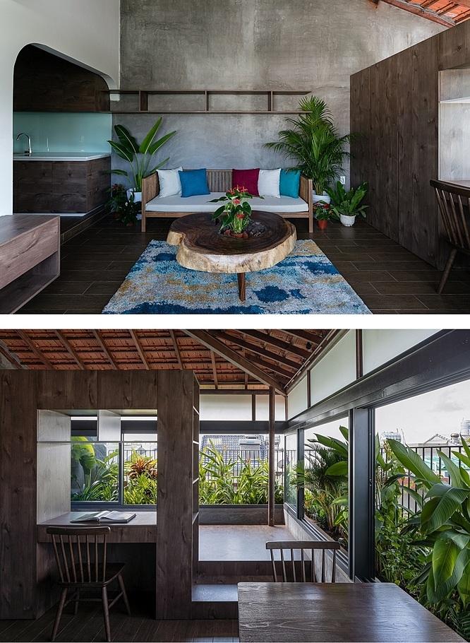 Không gian một phòng ngủ áp mái. Ảnh: Quang Dam.