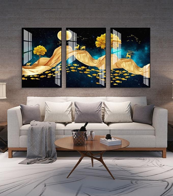 Tranh treo tường tráng gương pha lê cao cấp hươu vàng may mắn ̣(40x60x3cm) - Đen - 40x60cm 1.100.000đ599.000 Tranh trang trí nhà ở là bí quyết hoàn hảo giúp bạn thay đổi không gian sống một cách nhanh chóng và dễ dàng, mà vẫn đảm bảo tính thẩm mỹ và sáng tạo. Bề mặt tranh phủ bóng tráng gương sang trọng chống nước giữ màu sắc tươi sáng vĩnh viễn Công nghệ in UV cao cấp hình ảnh tranh chân thực sắc nét lôi cuốn Số lượng: 03 tấm Kích thước: 40x60x3cm Dễ dàng tháo lắp, không cần khoan đục tường Bộ tranh theo chủ đề thiên nhiên trừu tượng màu sắc trang nhã, nhẹ nhàng. Tạo cảm giác thư thái dễ chịu, phù hợp trang trí cho phòng khách và phòng ngủ.