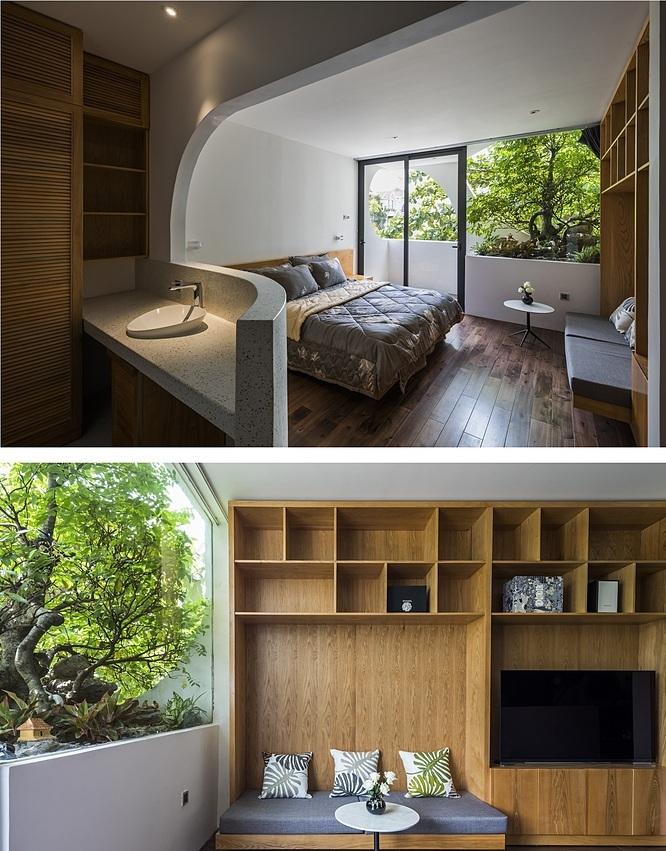 Nhờ những góc cắt ngoài mặt tiền, các phòng ngủ nhiều sáng, nhìn ra không gian xanh mà vẫn đảm bảo riêng tư. Ảnh: Hiroyuki Oki.