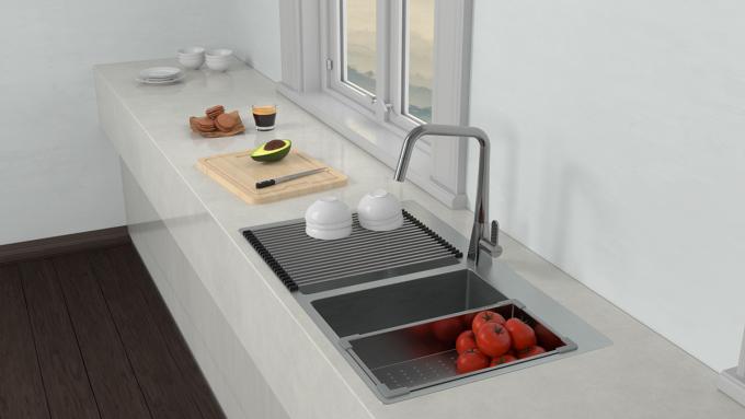 Chậu bếp kết hợp phụ kiện giúp việc dọn rửa, sơ chế thức ăn tiện lợi hơn. Ảnh: Hafele.