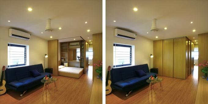 Các hộp ngủ với hệ vách kéo xung quanh tạo nên sự linh hoạt cho căn hộ. Ảnh: ACCESS design lab.