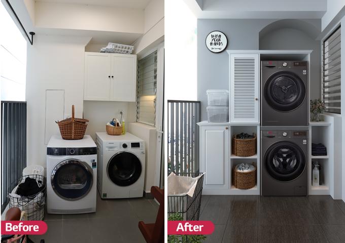 Góc giặt là nơi chưa được chị Loan Hoàng (TP HCM) chăm chút cho ngôi nhà trước đây. Chị chỉ cần chăm chút, thay đổi về cách bố trí, góc giặt đã trở nên gọn gàng, tiết kiệm không gian và đẹp mắt hơn.