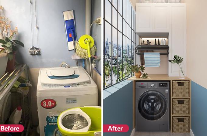 Với ưu thế nhỏ gọn, màu sắc sang trọng cùng đường nét tinh tế, chiếc máy giặt LG AI DD giúp nâng tầm không gian giặt giũ của chị Thúy Kiều.