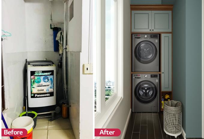 Với ưu thế nhỏ gọn, màu sắc sang trọng cùng đường nét tinh tế, chiếc máy giặt LG AI DD giúp nâng tầm không gian giặt giũ của chị Thúy Kiều (Hà Nội).