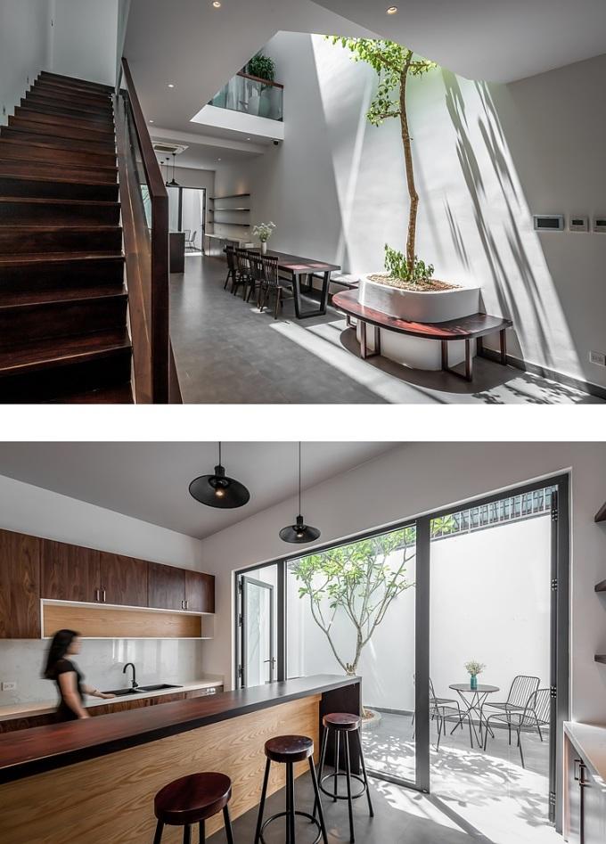 Trước và sau không gian bếp - phòng ăn đều có khoảng trống tạo sự thông thoáng. Ảnh: Minq Bui Photography.
