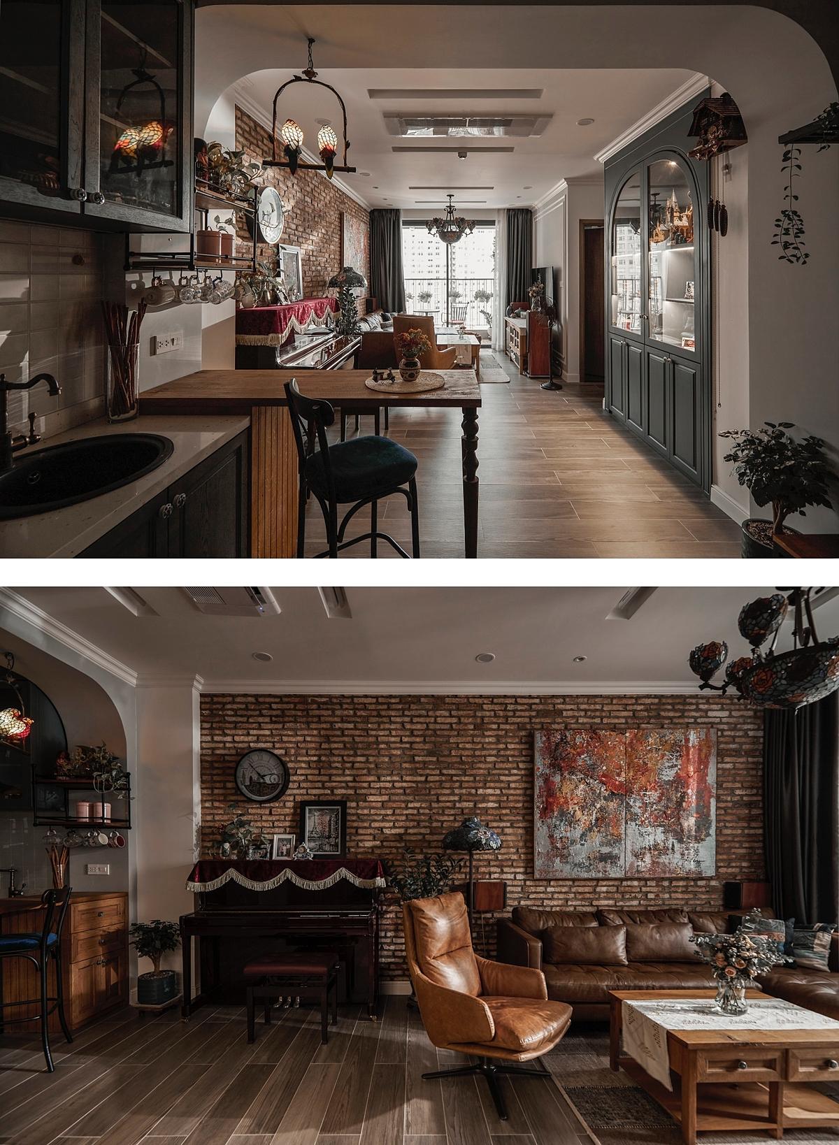 Không gian phòng khách đầy những chi tiết gợi nhớ phong cách đồng quê Canada như tường gạch, ghế da, nội thất gỗ. Ảnh: Sputnik.