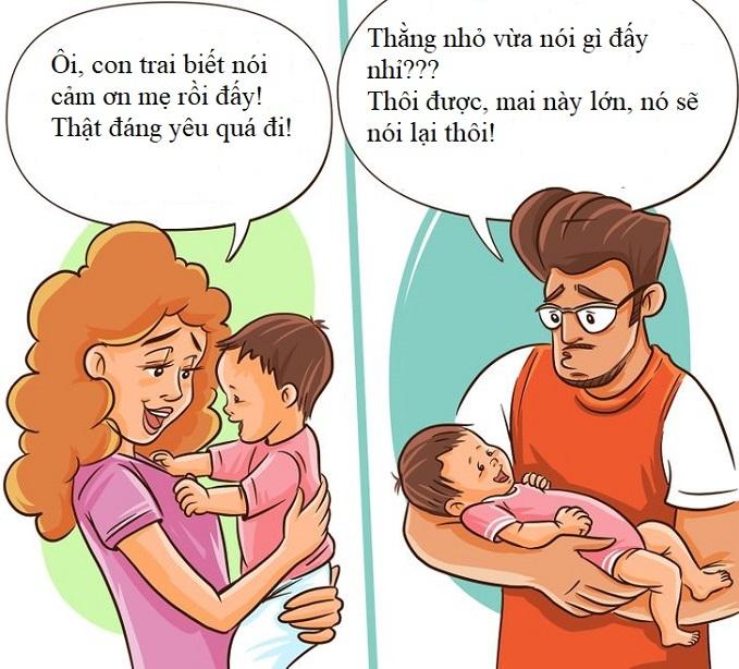 Những tình huống bố mẹ phản ứng trái ngược nhau
