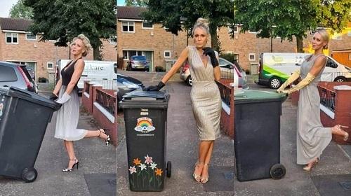 Cô đã đẩy xe rác đi bộ để không chỉ mua vui cho hàng xóm mà còn gây quỹ. Ảnh: SWNS.