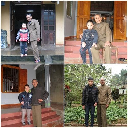Ông Xướng, một người dân khu I chụp ảnh kỷ niệm hàng năm với cháu trai từ 2009-2012 để cảm nhận rõ sự thay đổi của thời gian với con người. Ảnh: Nhân vật cung cấp.