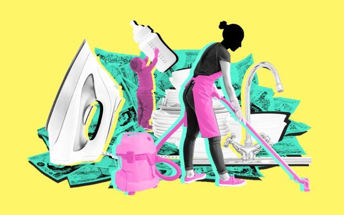 Tổ chức lao động quốc tế ILO cho biết phụ nữ thực hiện 76,2% công việc gia đình không được trả công, nhiều gấp 3,2 lần so với nam giới. Đồ họa: Telegraph.