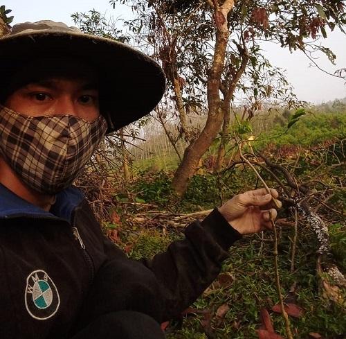 Ba năm ở rừng biến Tự Long từ một chàng trai thư sinh, trắng trẻo thành một anh nông dân, dày dặn kinh nghiệm nuôi bò, trồng rau... Ảnh: Nhân vật cung cấp.