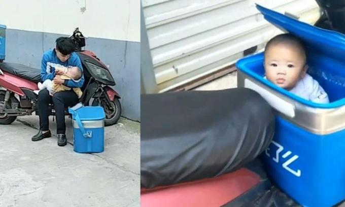 Lý Nguyên Nguyên cho con uống sữa trên đường đi giao hàng khi cô bé được 6 tháng tuổi. Ảnh: South China Morning Post)