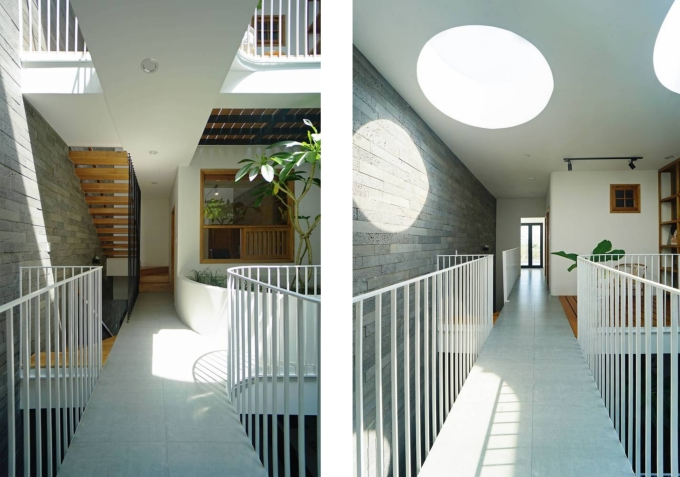 Two skylights and floor clearance bring light downwards and help homeowners have more room to watch the sky and clouds.