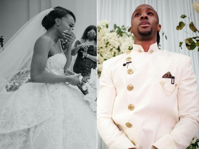 Dâu rể khóc vì hạnh phúc trong ngày cưới. Ảnh: Jordan Onuoh.