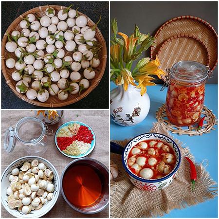 Cách làm cà pháo chua ngọt đơn giản, với những trái cà pháo ngâm giòn sựt, ngấm vị chua cay, mặn ngọt, thơm nồng hương gừng và ớt rất đặc trưng. Ảnh: Bùi Thủy.