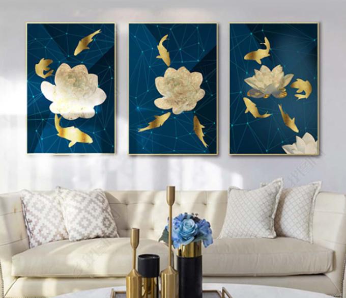Tranh treo tường GD23 họa tiết hoa trắng trên nền xanh cobalt của nội thất IGEA gồm 3 tranh, kích thước... Chất liệu tráng gương tạo hình ảnh sắc nét, chống trày xước. Sản phẩm đang được bán với giá ưu đãi 16% là 336.000 đồng.