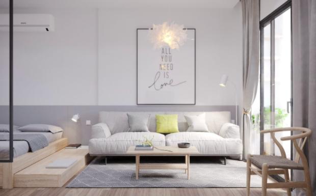 Gợi ý thiết kế nội thất đa chức năng. Giường ngủ được bố trí hệ phản bên dưới, có thể kéo ra để làm chỗ để đồ hoặc chỗ ngồi.